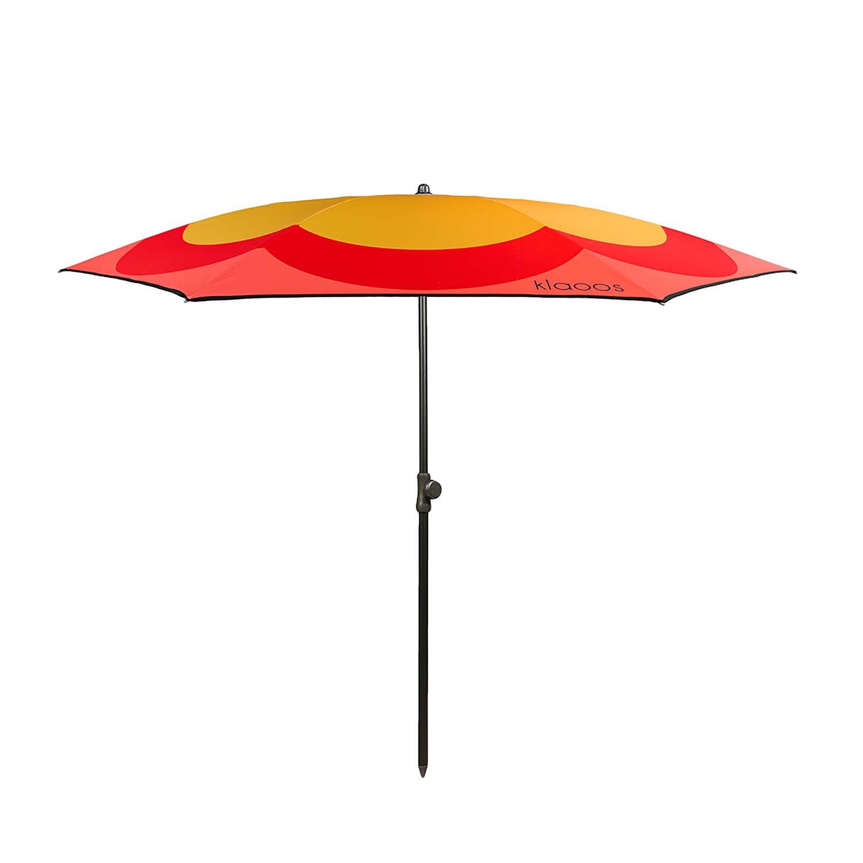 Parasol de plage en textile recyclé rouge moutarde