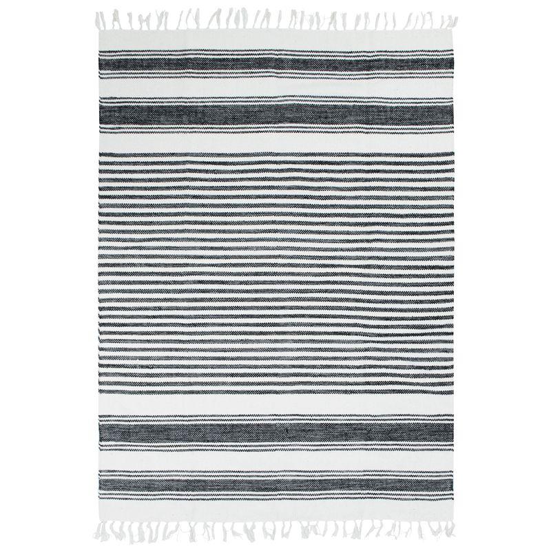 Tapis 100% coton lignes noir-gris-blanc 190x290