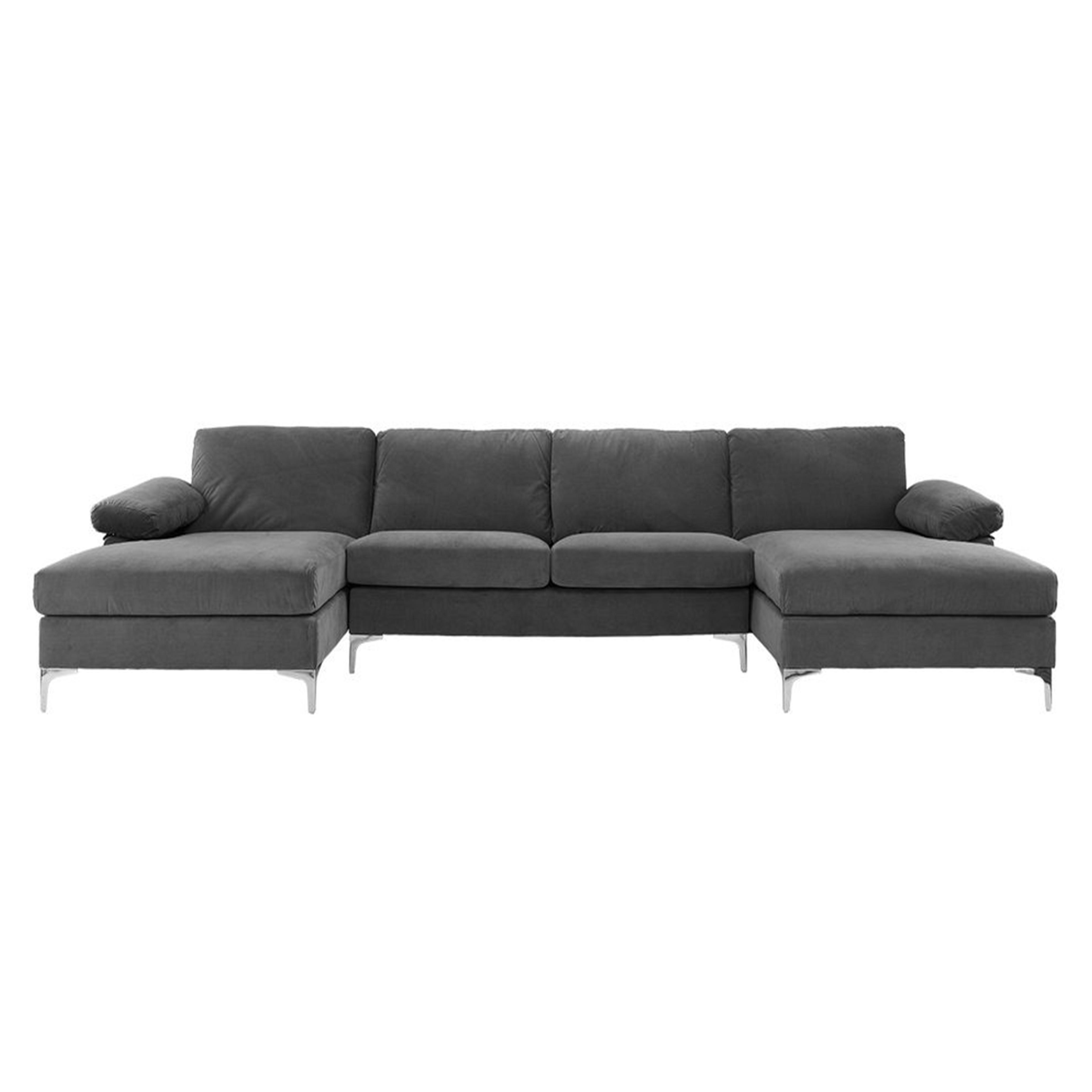 Canapé d'angle panoramique 7 places velours gris