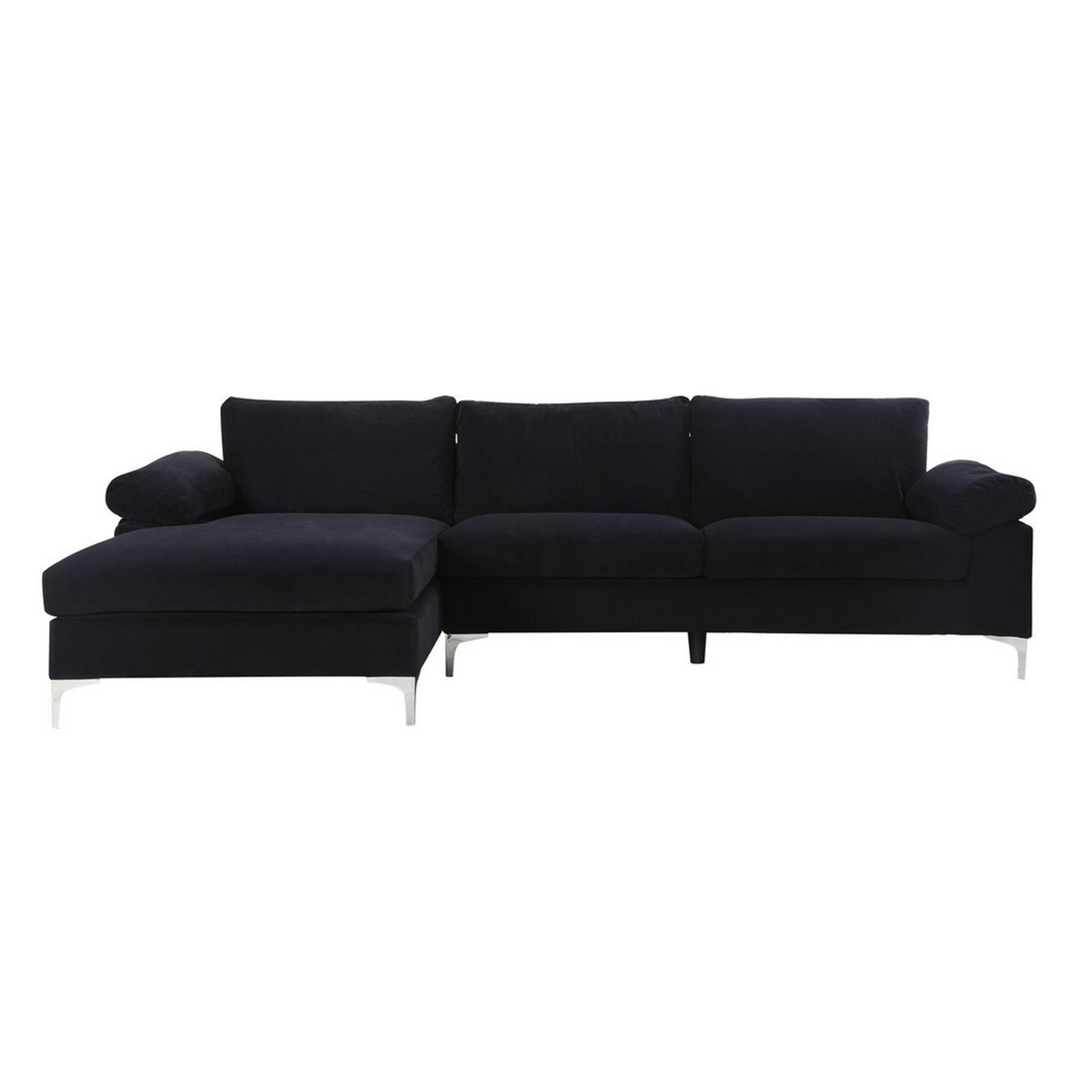 Canapé d'angle 5 places tissu velours noir
