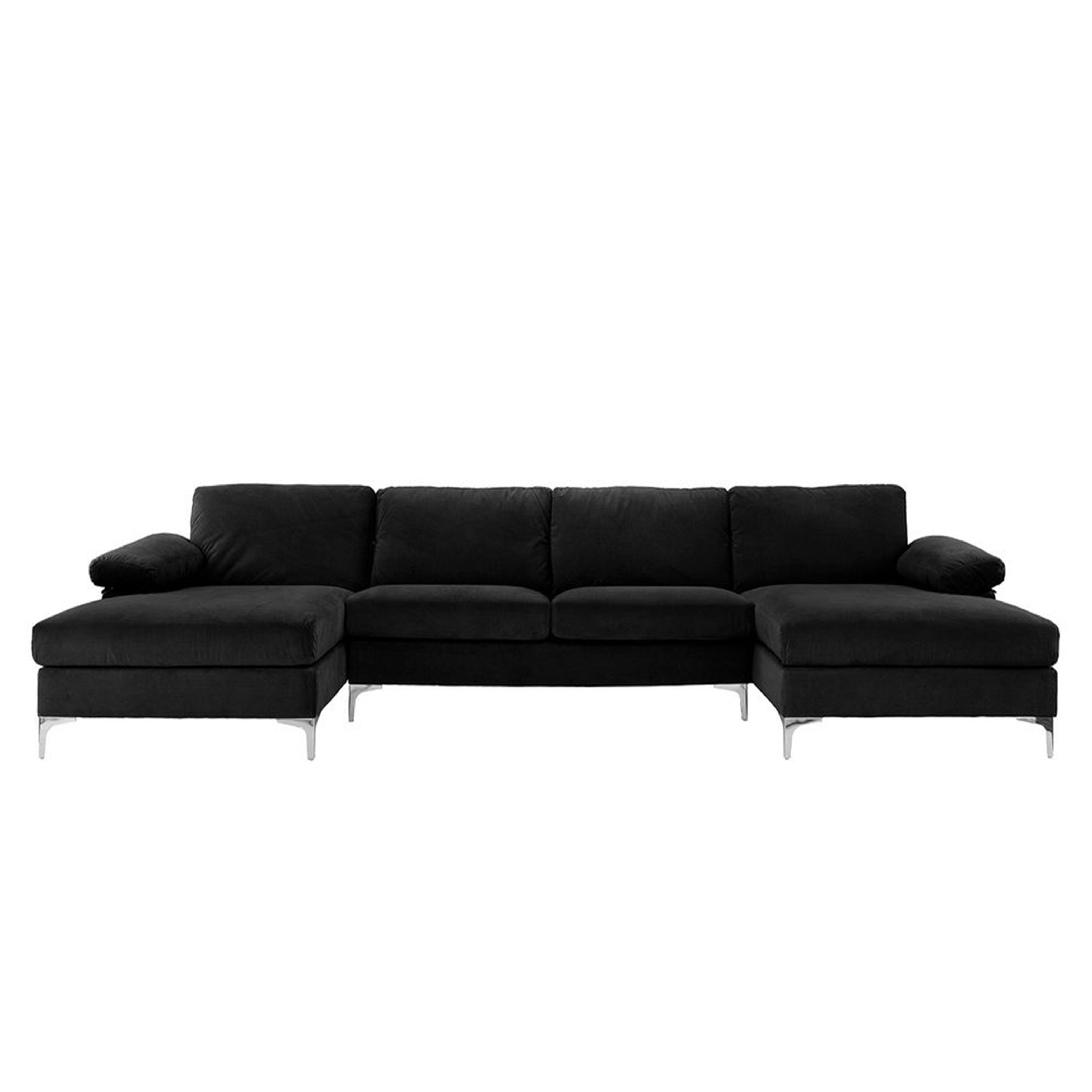 Canapé d'angle panoramique 7 places velours noir