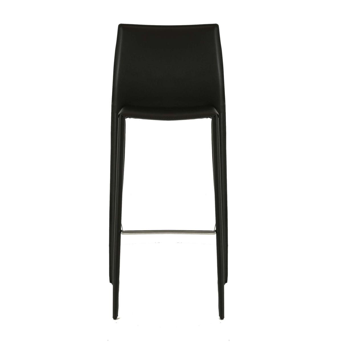 Chaise de bar noire en cuir reconstitué Camille