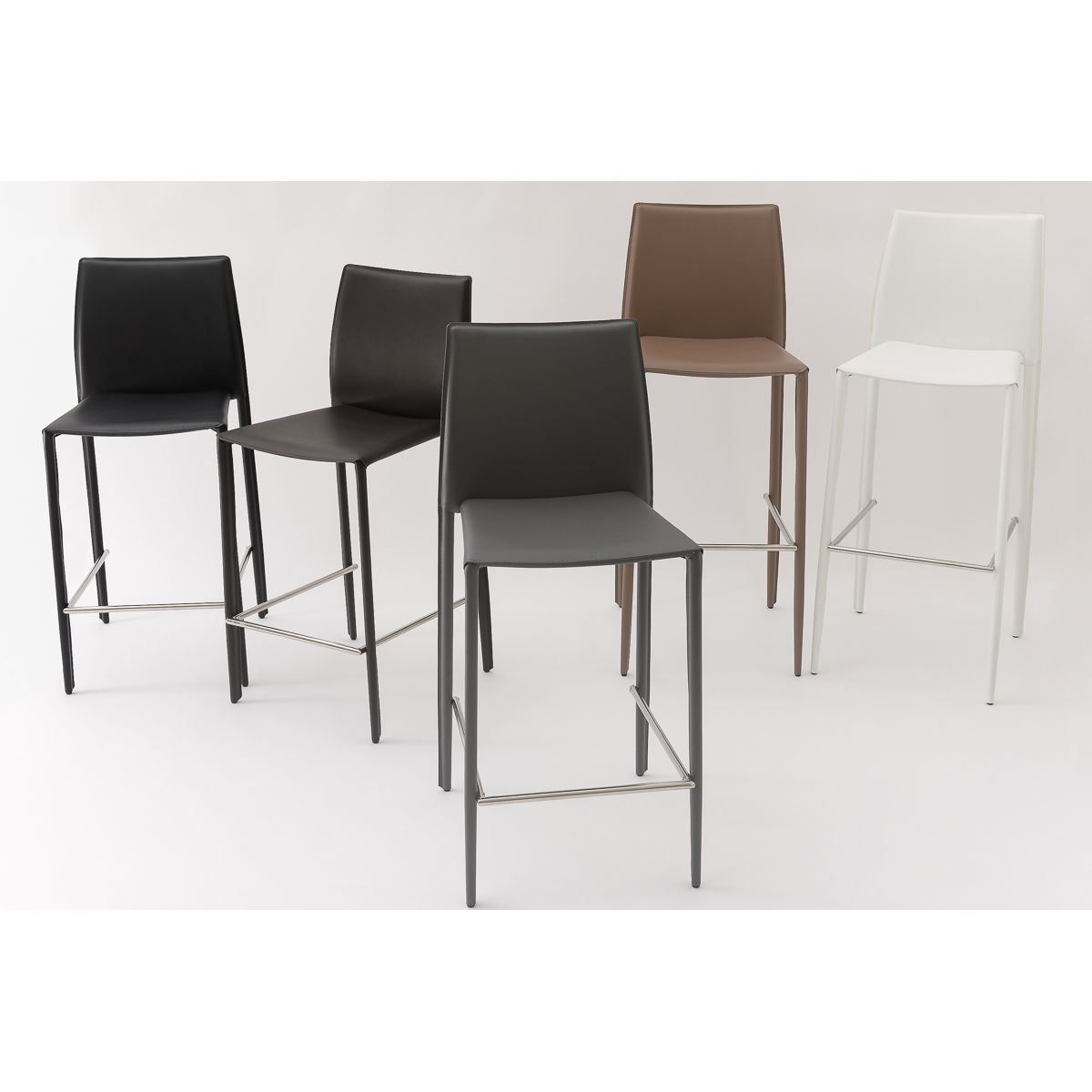 Chaise de bar blanche en cuir reconstitué Camille