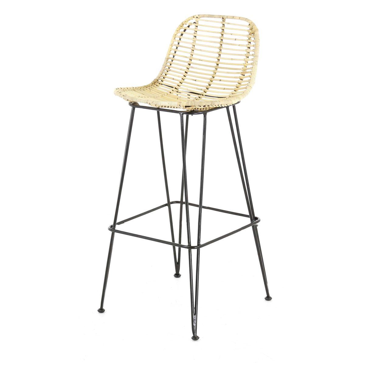Chaise de bar en rotin et pieds épingles métal