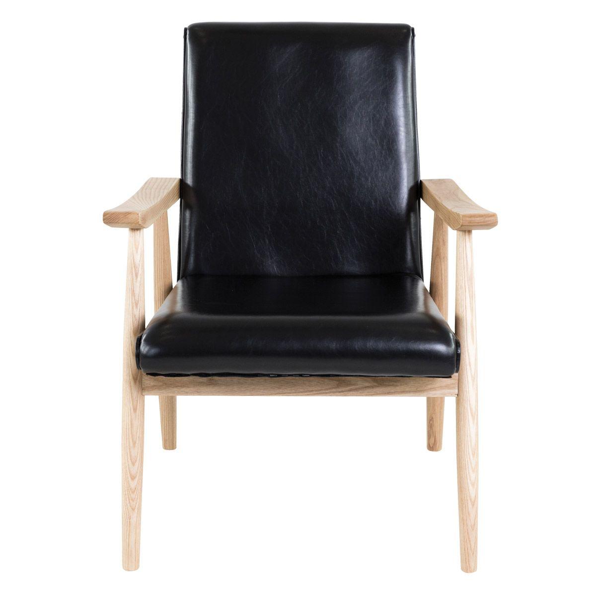 Fauteuil imitation cuir et bois  noir