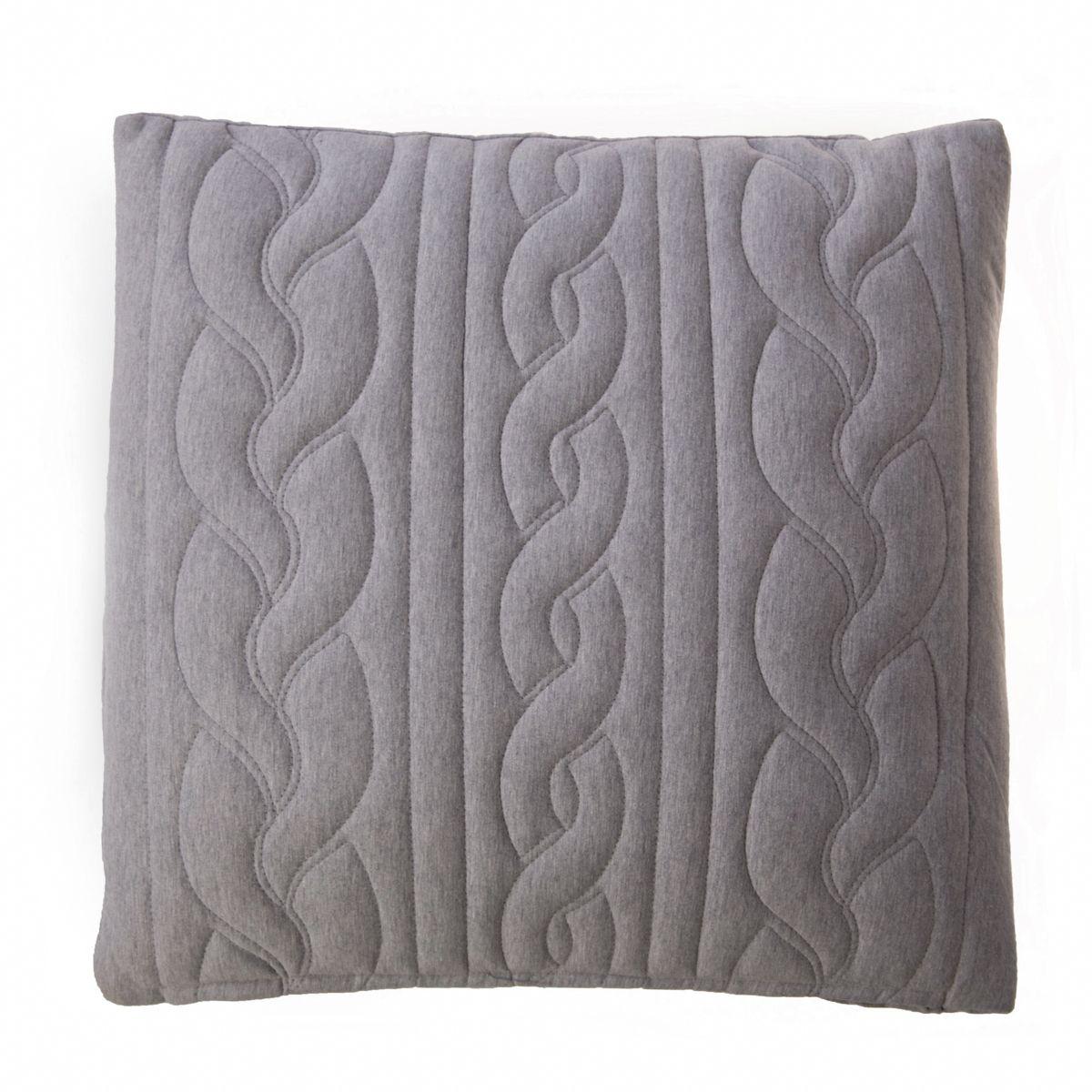 Housse de coussin grise brodée en laine 45 x 45 cm