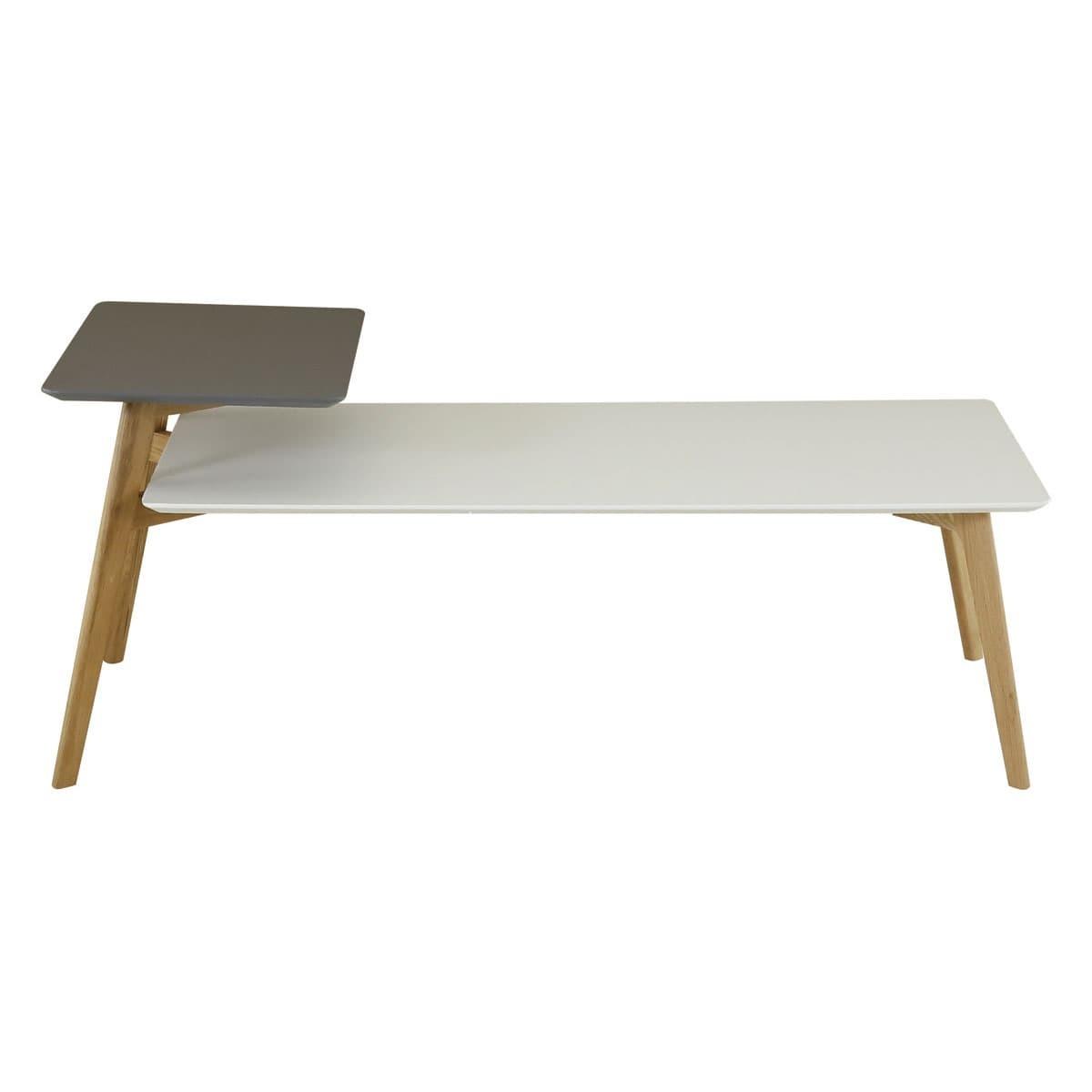 Table basse 130 cm double plateaux gris et blanc