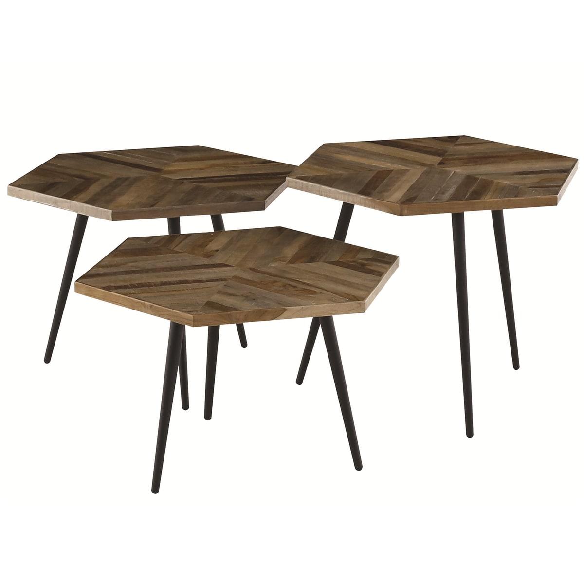 Tables basses hexagonales teck recyclé et métal (set de 3)