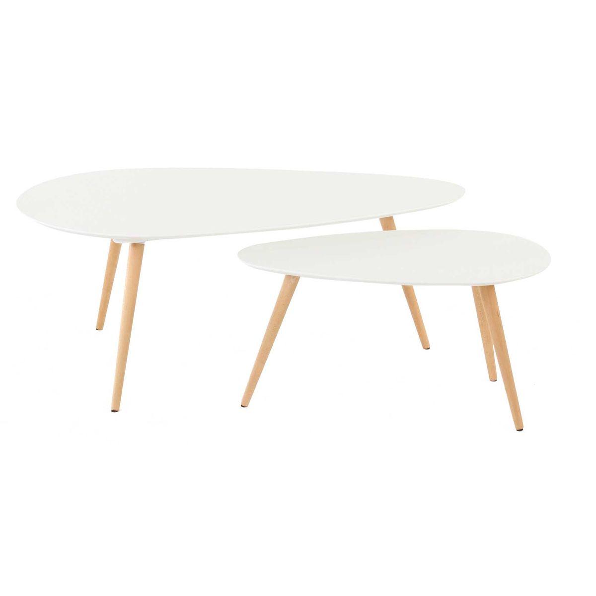 Tables basses gigognes chêne et laqué 116 cm  blanc