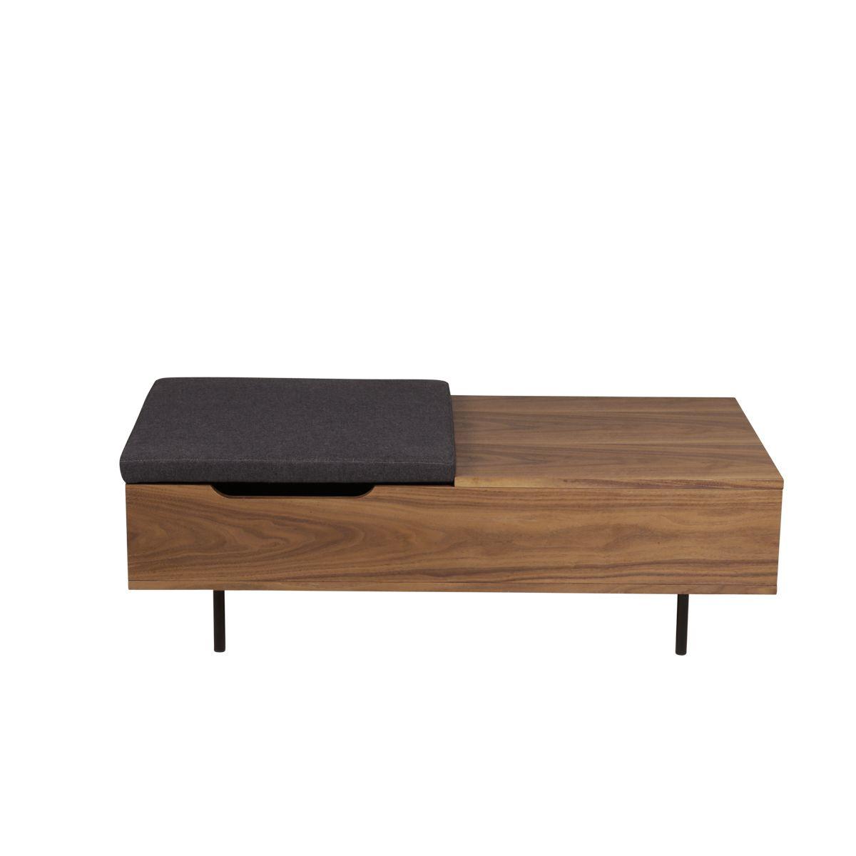 Table basse rectangulaire placage noyer, coffre intégré