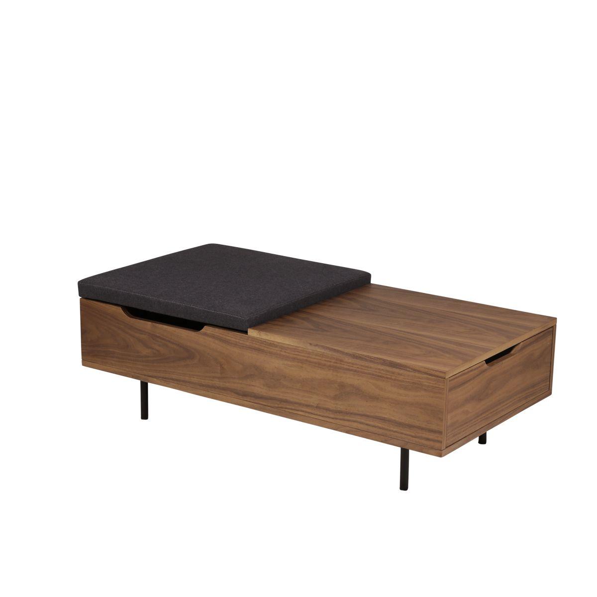 Table basse rectangulaire placage noyer, coffre intégré Abysse