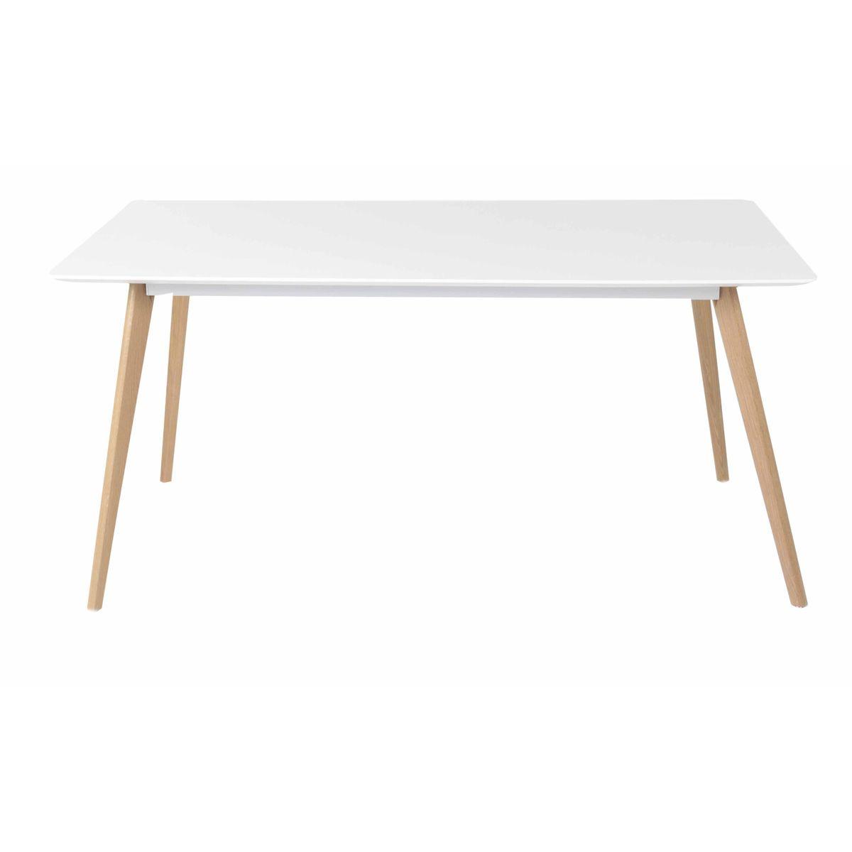 Table repas blanche et pieds chêne 160X90 cm scandinave
