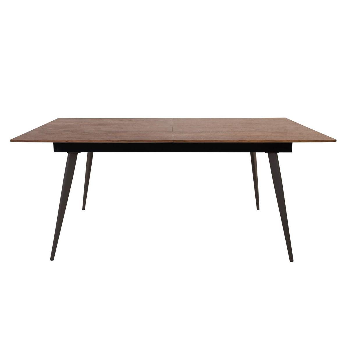 Table extensible noyer plaqué 180 cm + allonge intégrée Abysse