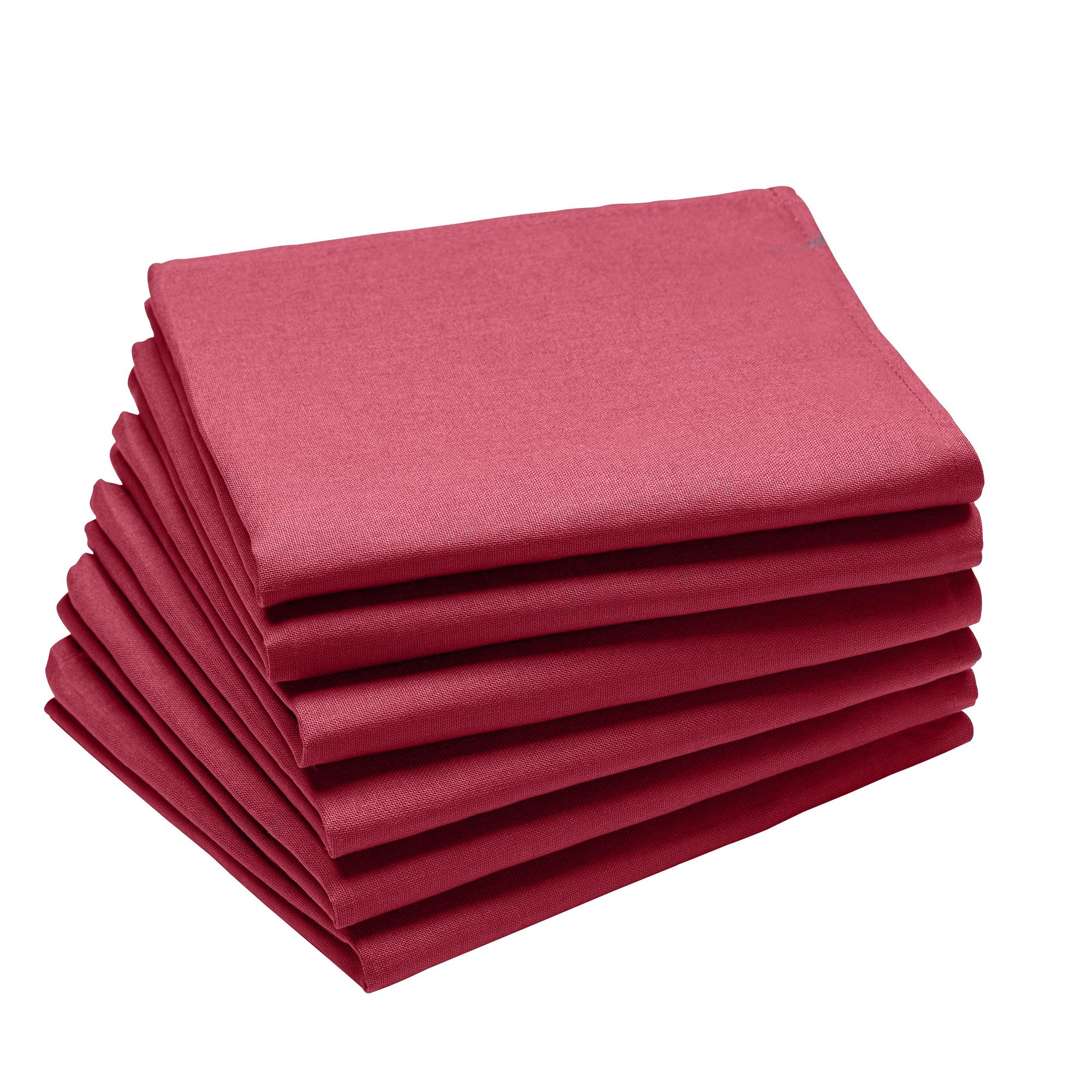 Lot de 6 serviettes en coton traite Teflon, Griotte 45 x 45
