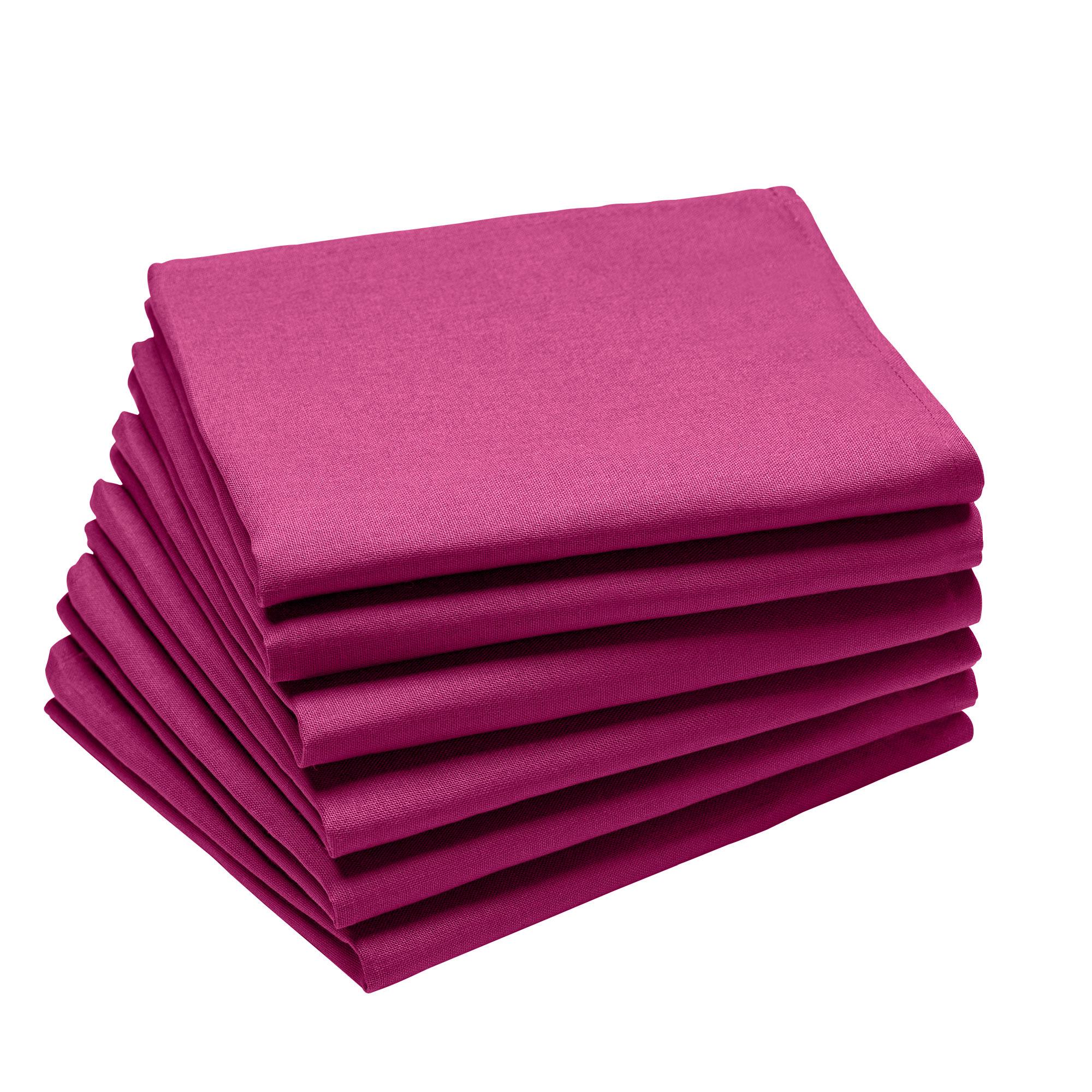 Lot de 6 serviettes en coton traite Teflon, Fuchsia 45 x 45