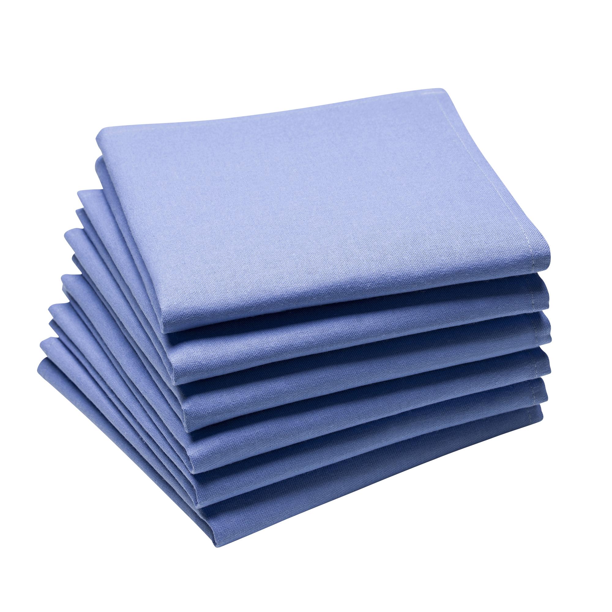 Lot de 6 serviettes en coton traite Teflon, Bleu lin 45 x 45