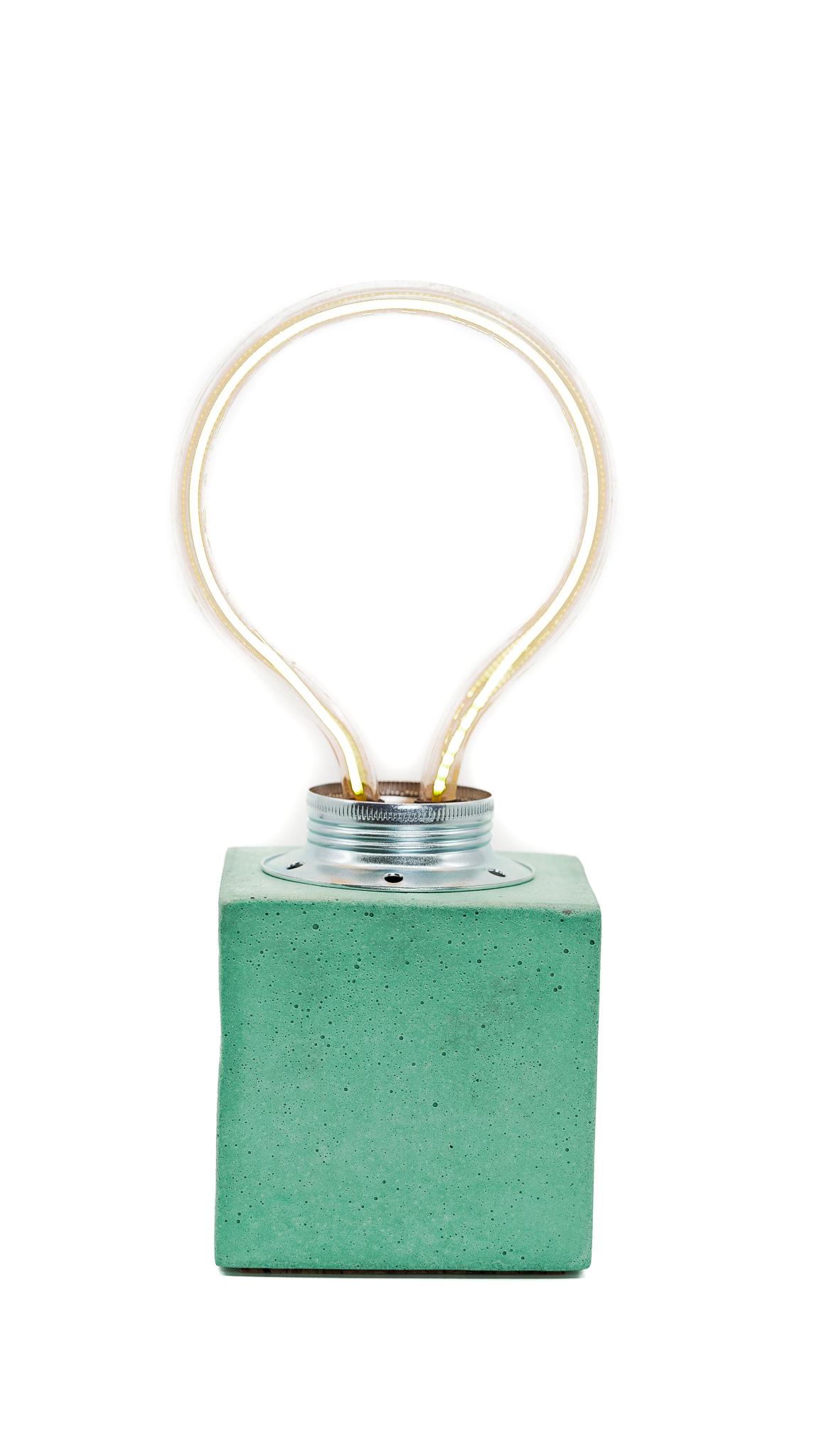 Lampe cube néon en béton turquoise fabrication artisanale