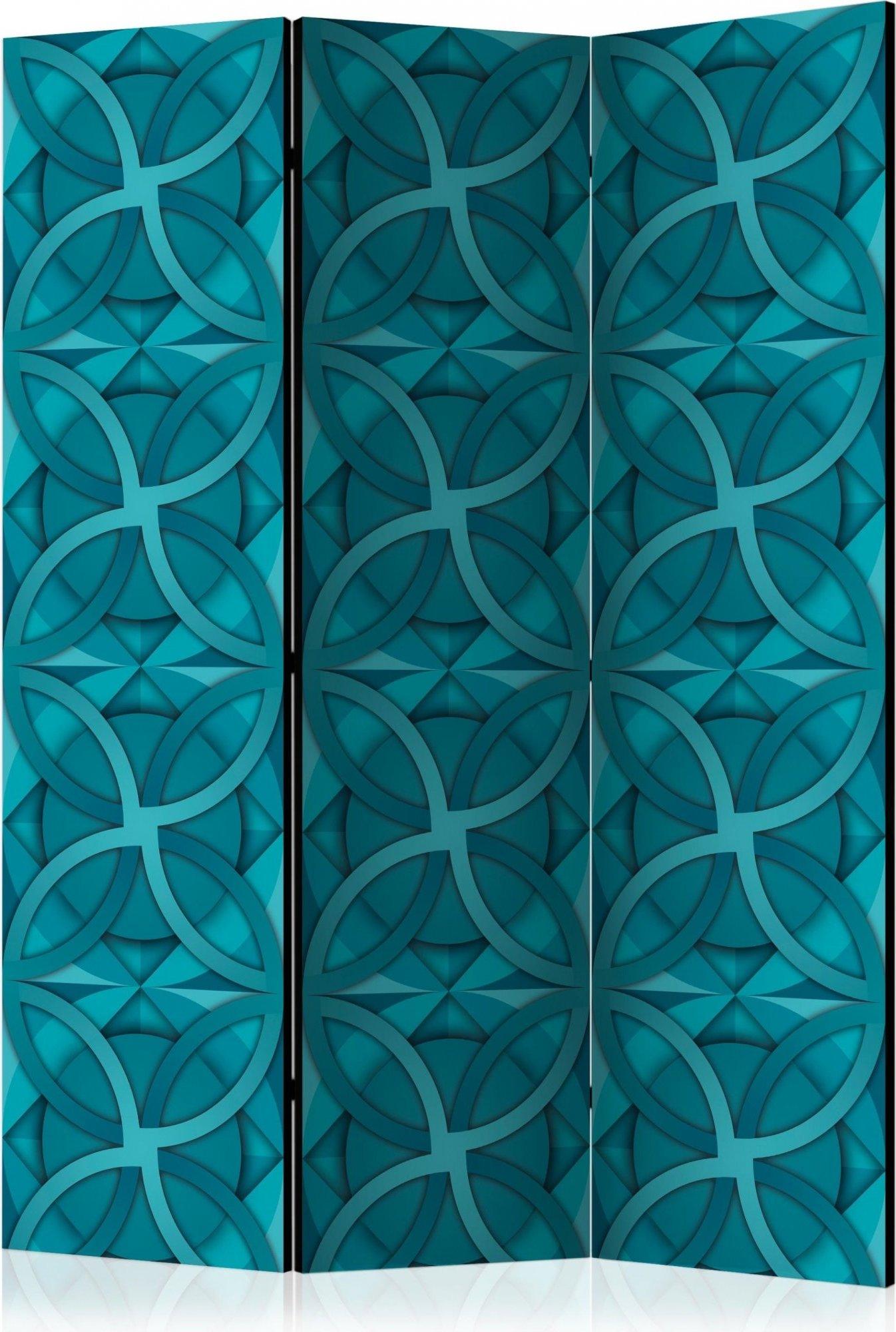 Paravent 3 volets bleu