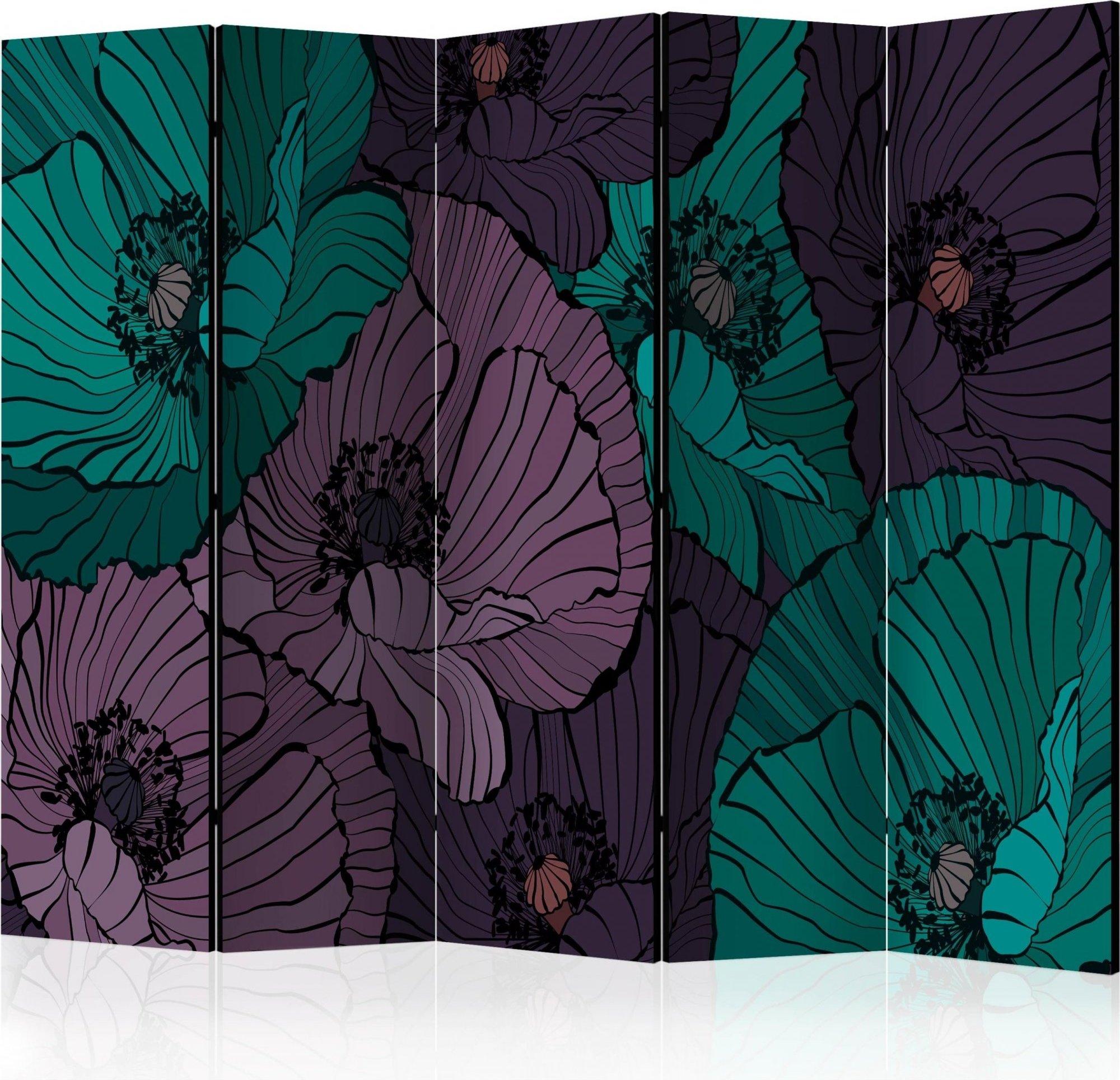 Paravent 5 volets violet