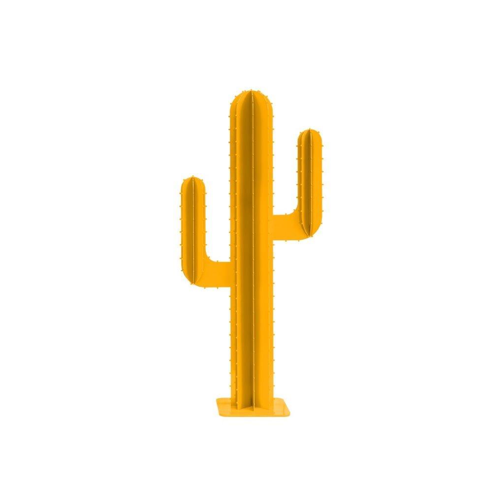 Cactus de jardin 2 branches en aluminium jaune H100cm