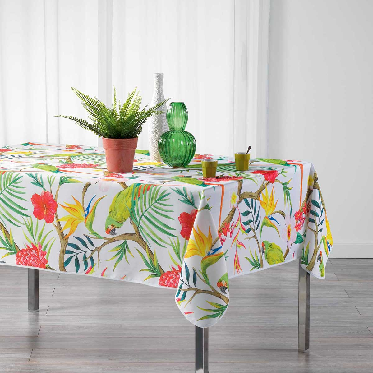 Nappe rectangulaire impressions tropicales polyester blanc 240x150