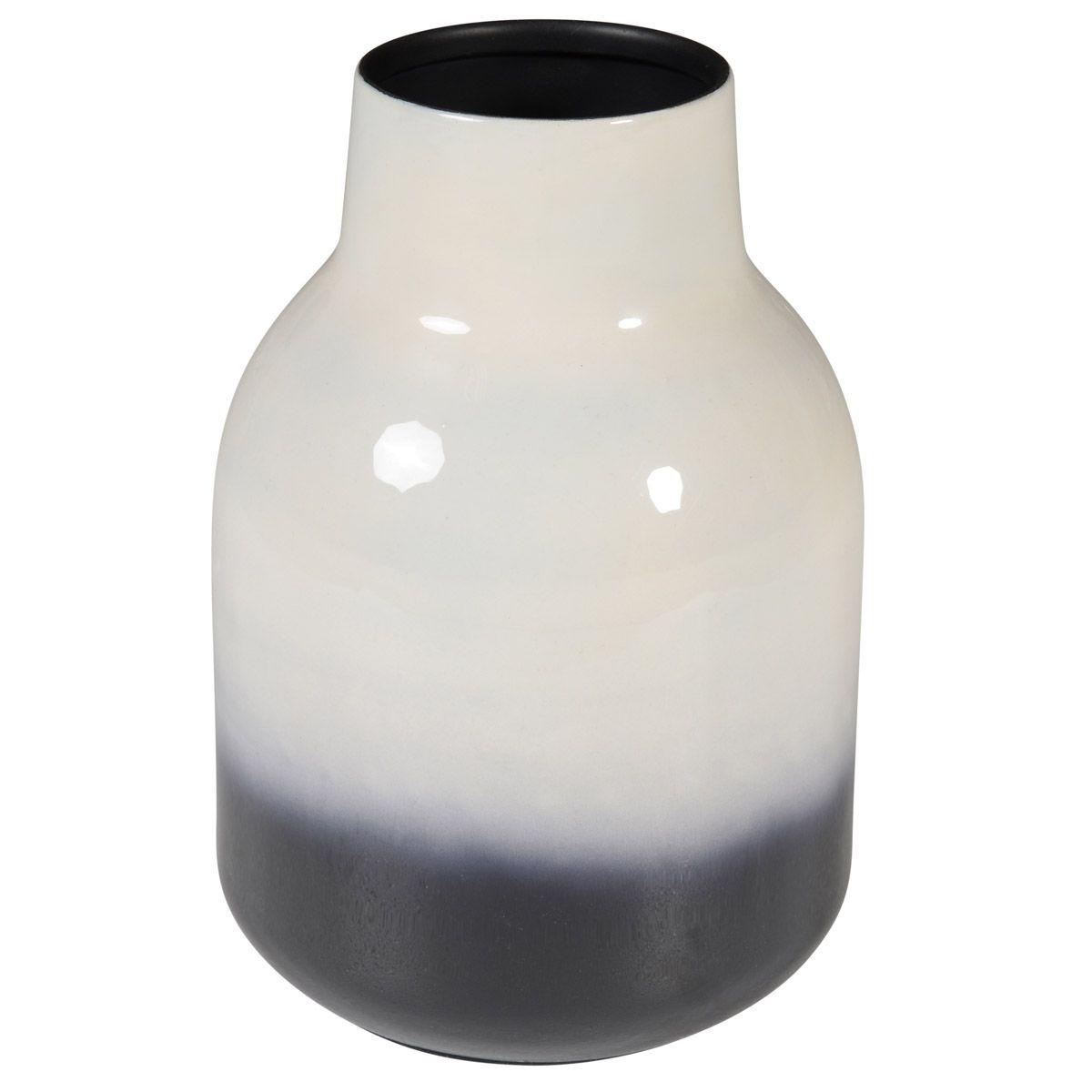 Vase fer émaillé bicolore h 23,5 cm noir