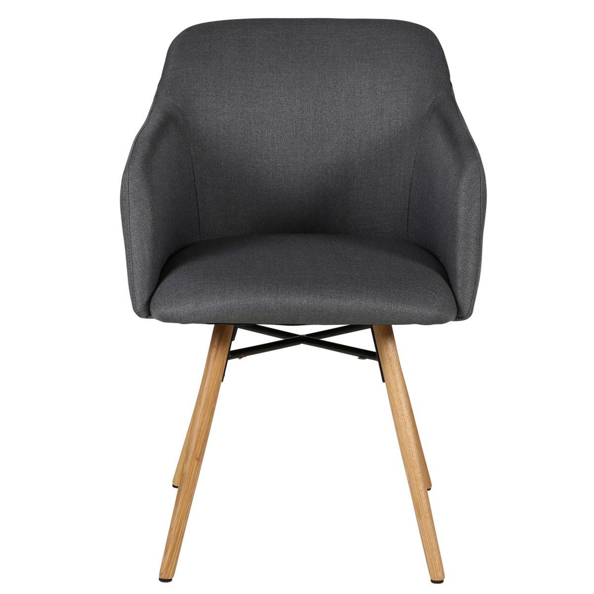 Chaise accoudoirs gris foncé en tissu pieds chêne naturel May