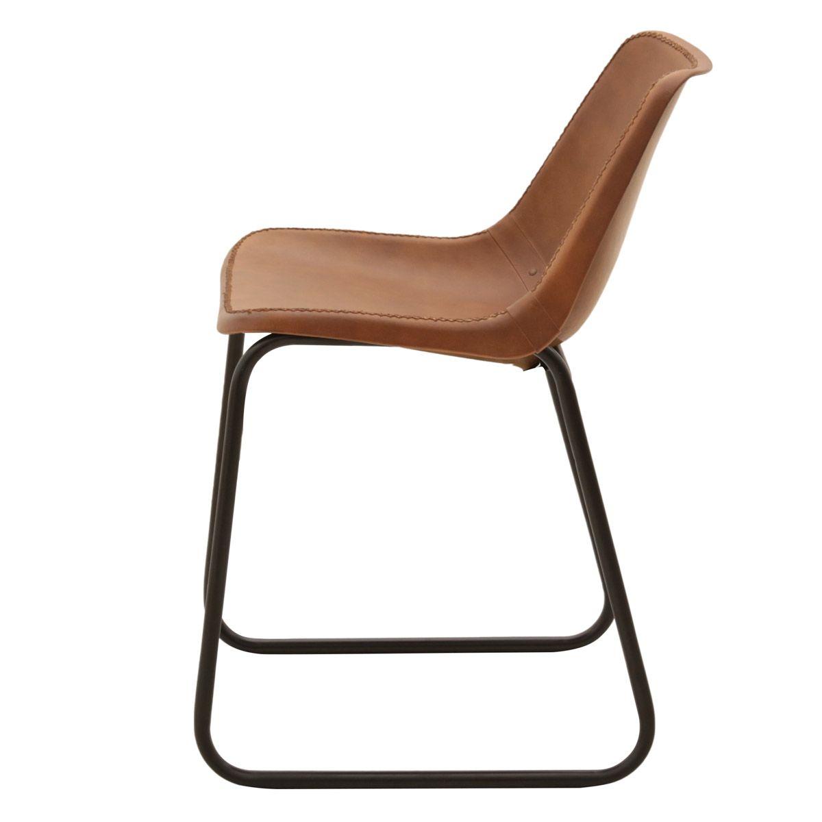 Chaise cuir véritable marron et pieds luge métal