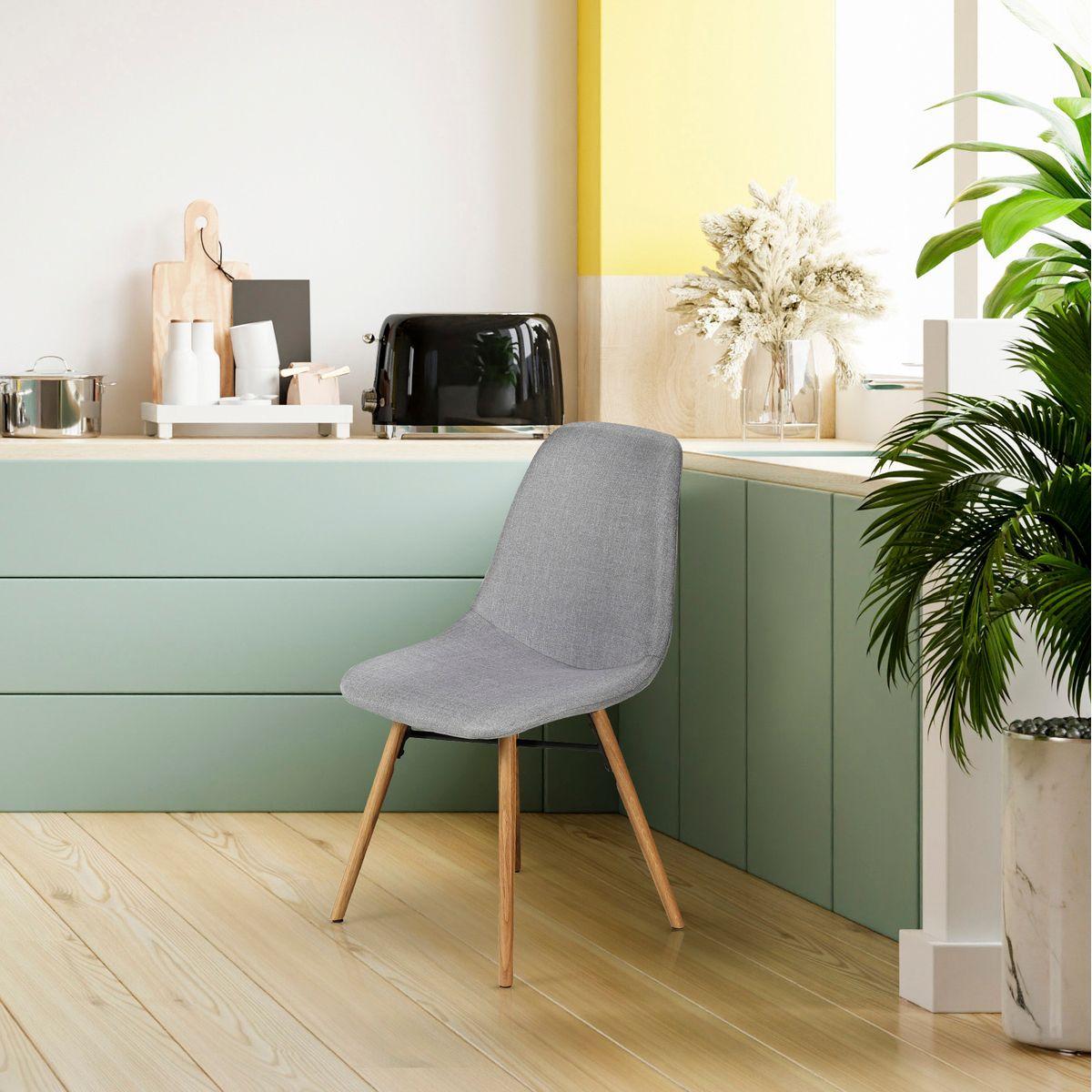 Chaise tissu et pieds chêne naturel