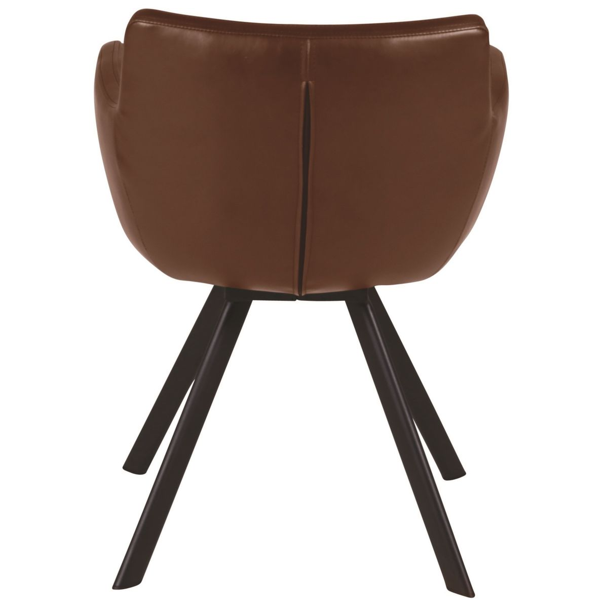 Chaise accoudoirs imitation cuir marron et pieds métal