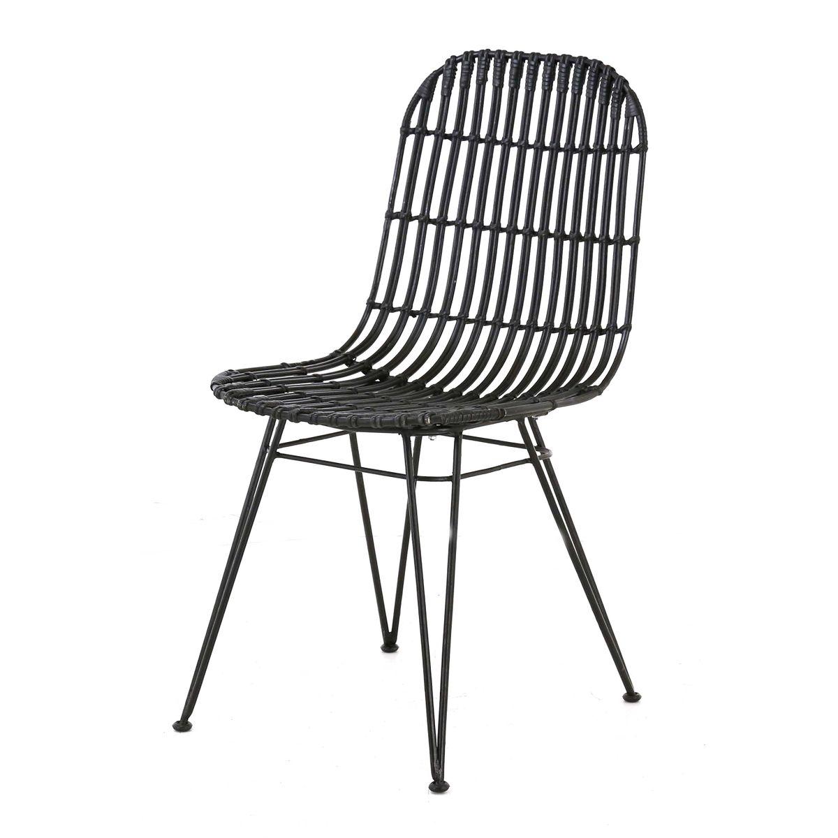 Chaise rotin et métal  noir