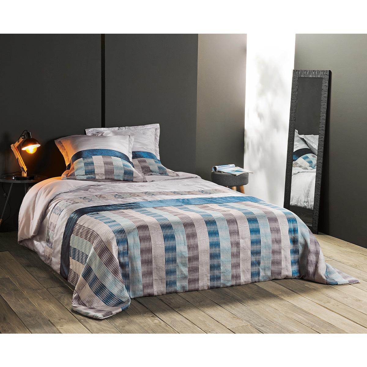 Jeté de lit aux rayures verticales polyester bleu 240x180