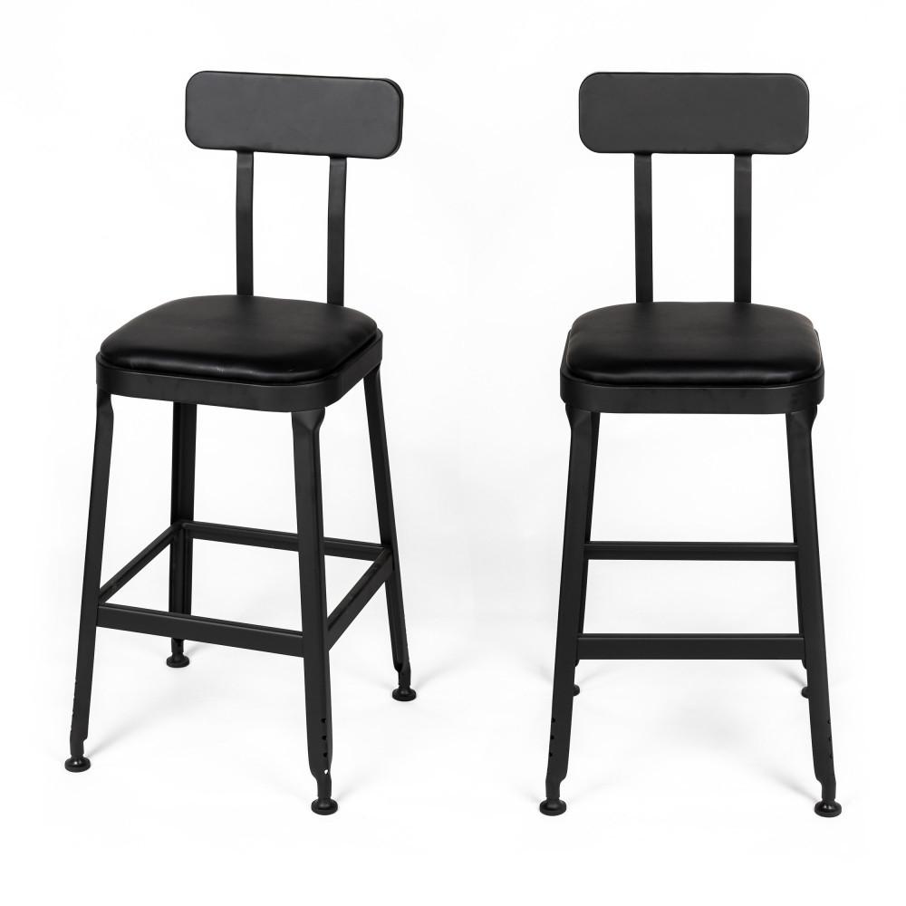 2 chaises de bar métal et simili 63cm noir