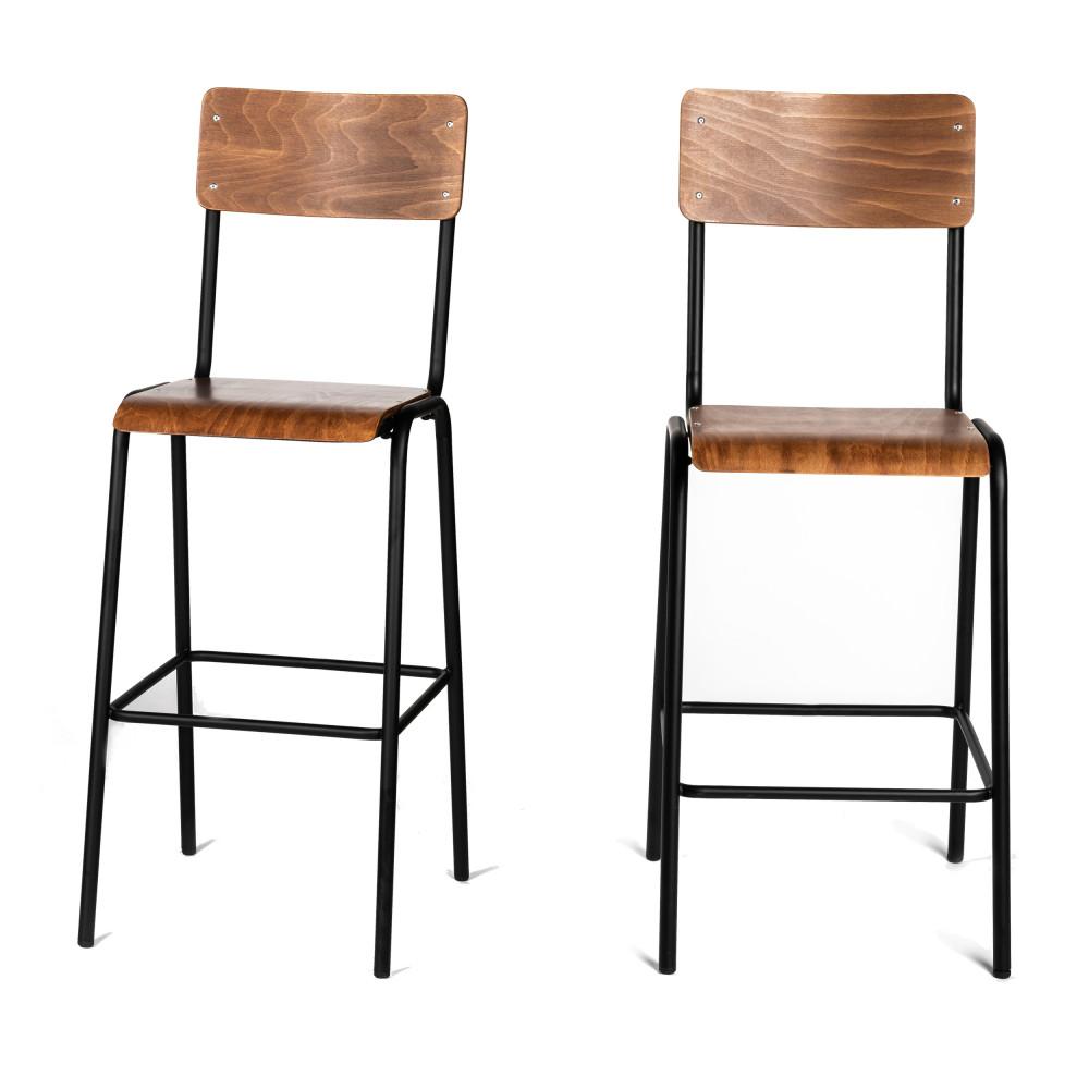 2 chaises de bar métal et bois foncé 77cm