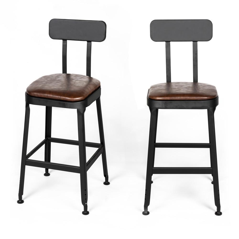 2 chaises de bar métal et simili 63cm marron