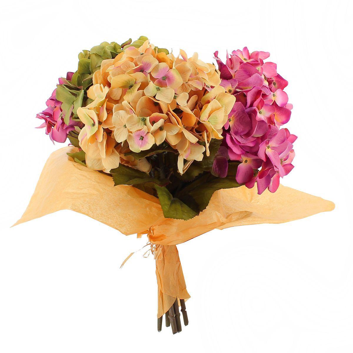 Bouquet hortensias artificielles 5 tiges H45cm
