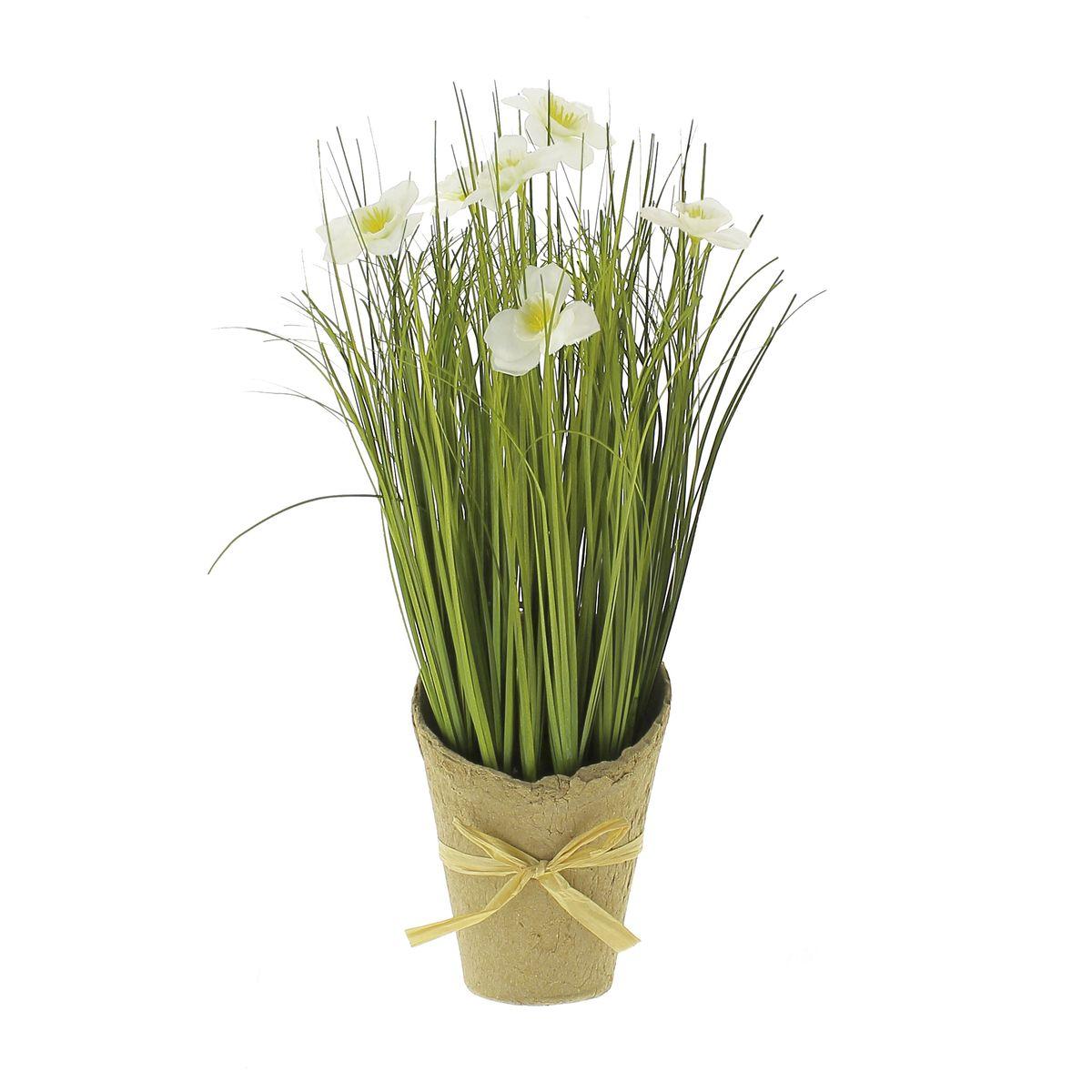 Fleurs artificielles clematite blanche en pot H36cm