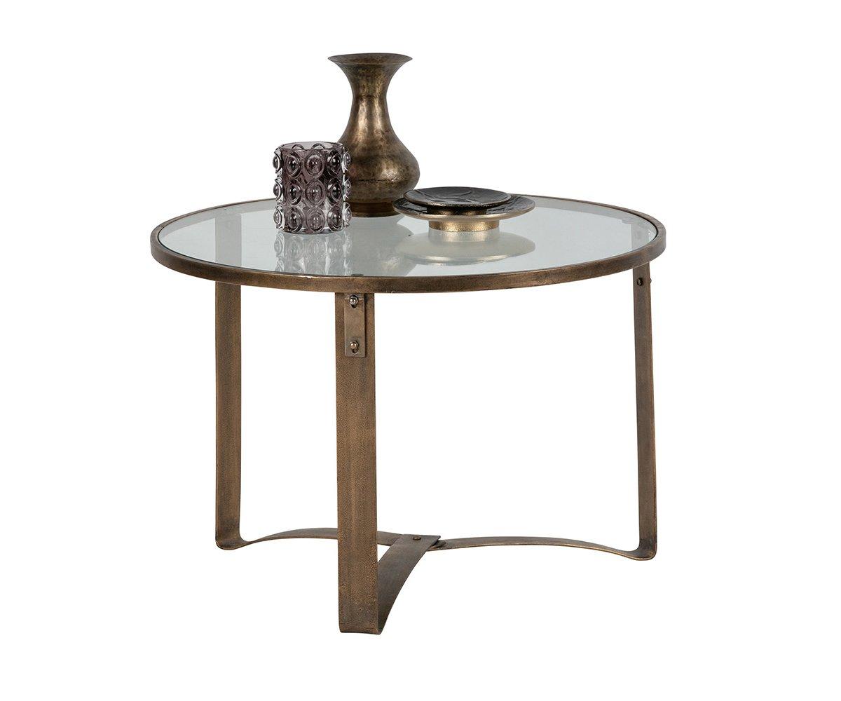 Table basse ronde métal et verre style antique - BePureHome