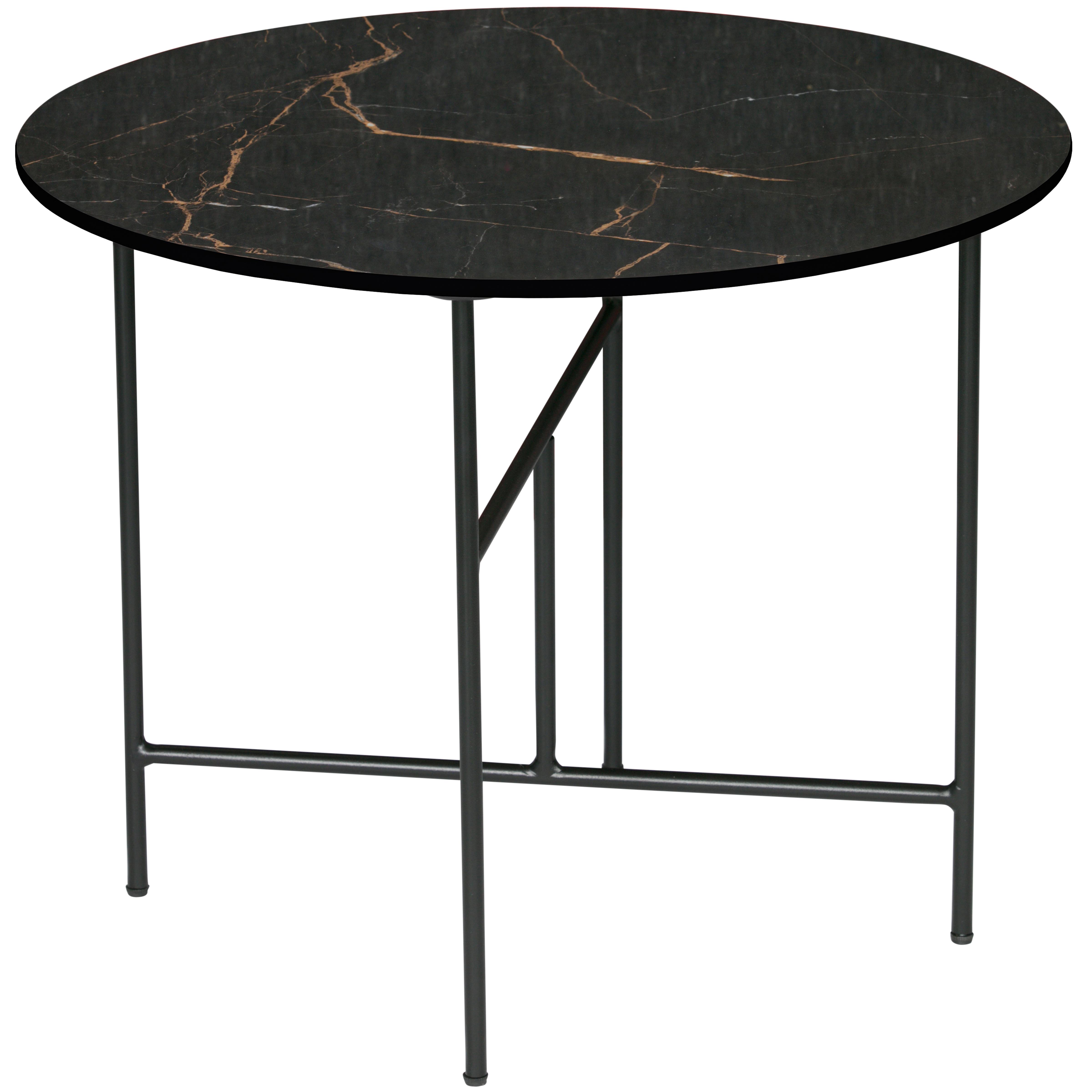 Table basse en porcelaine effet marbre 48xD60 noir