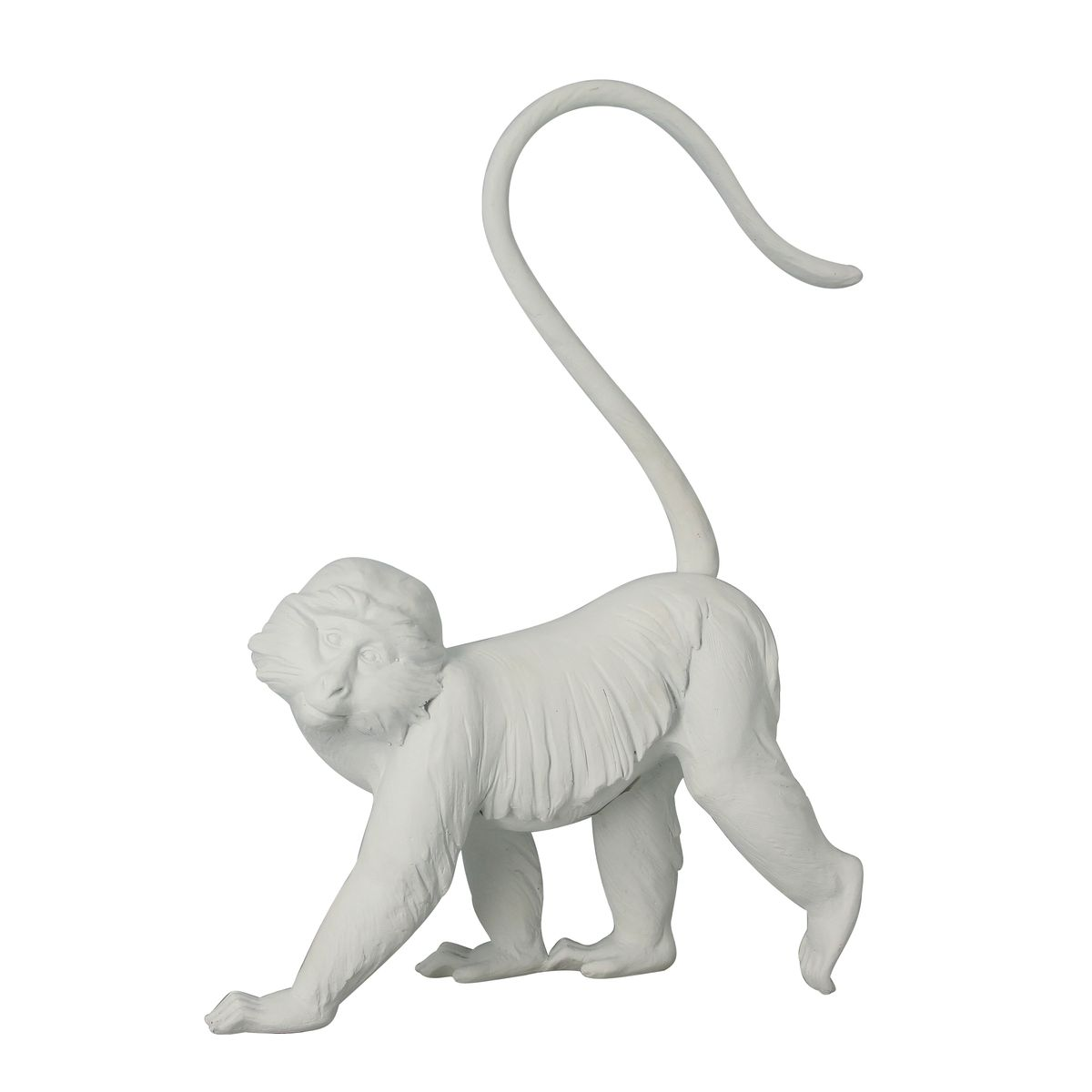 Statuette singe en résine blanche H45