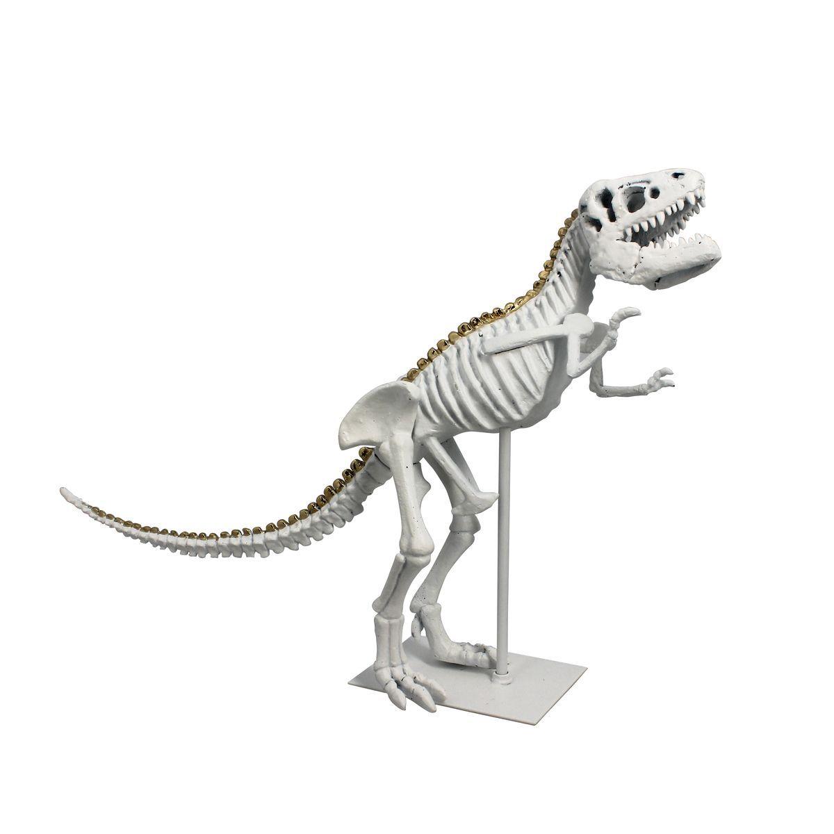 Dinosaure décoratif en résine blanche pied en métal blanc