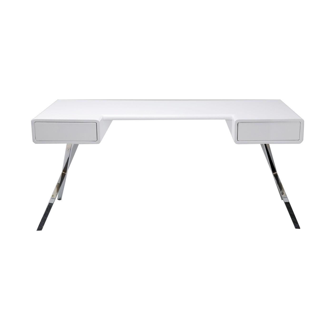 Bureau 2 tiroirs blanc et acier chromé