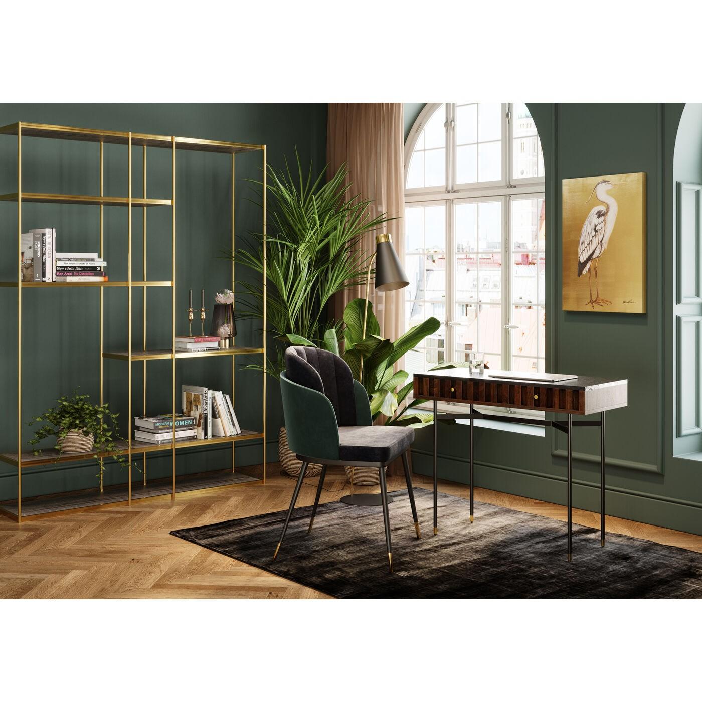 APIANO - Bureau 2 tiroirs en marbre noir et acier