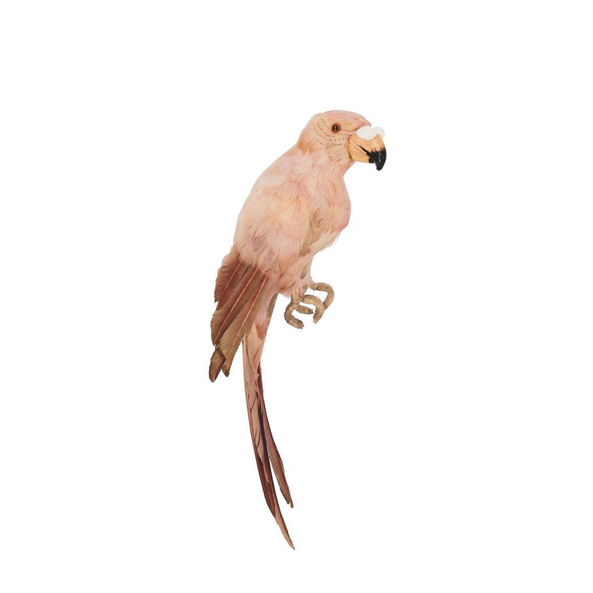 Statuette perroquet en plumes d'oie rose H38