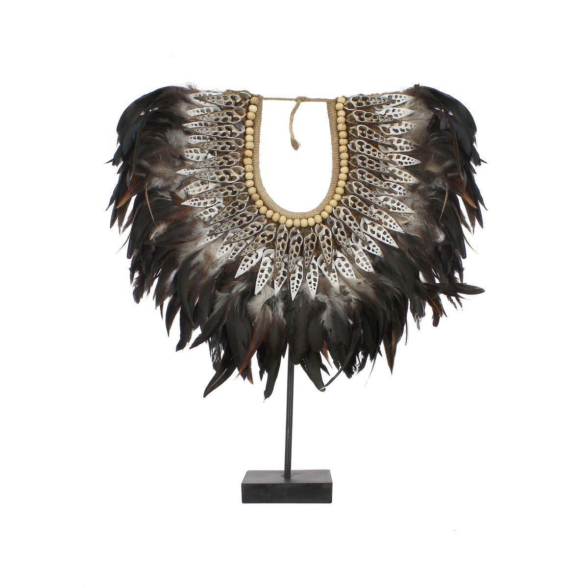 Collier en plumes et coquillages noirs