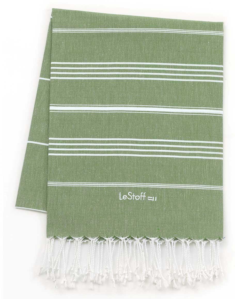 Fouta en coton peigné BIO Olive 95 x 180 cm