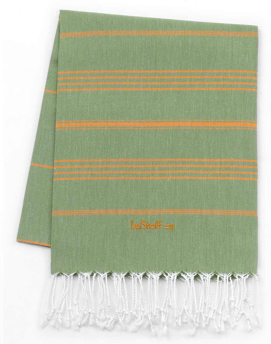 Fouta en coton peigné BIO Olive-Orange 95 x 180 cm