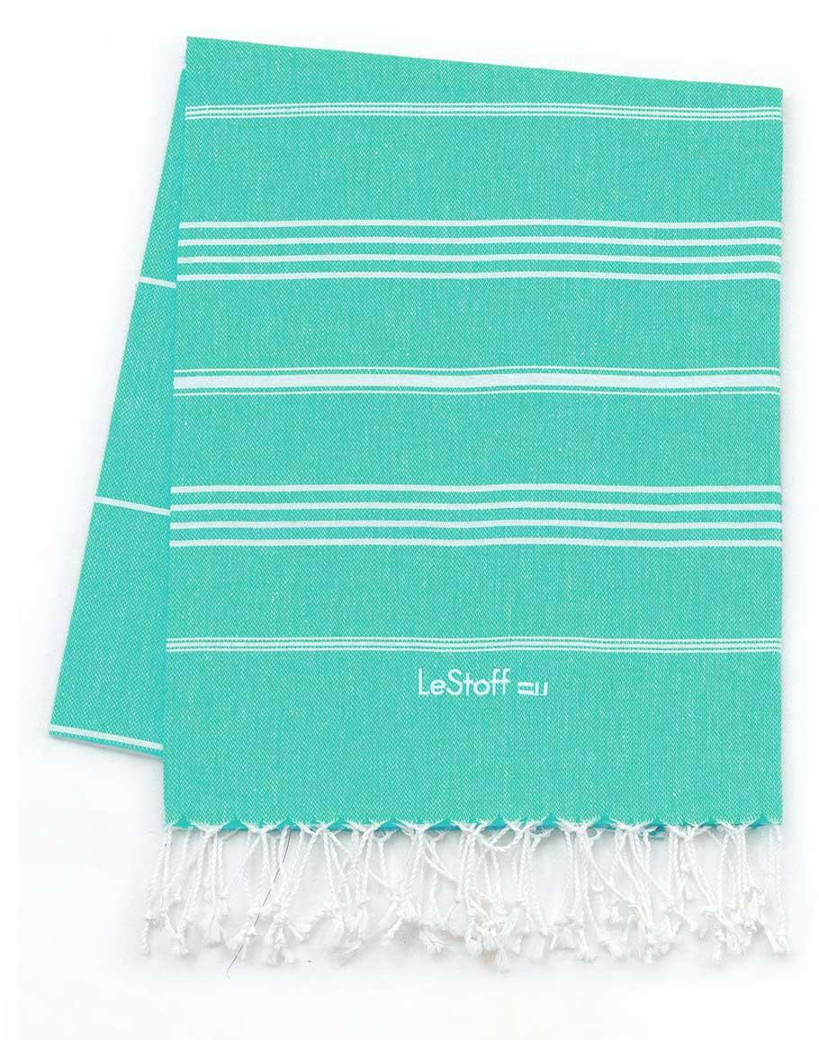 Fouta en coton peigné BIO Turquoise 95 x 180 cm