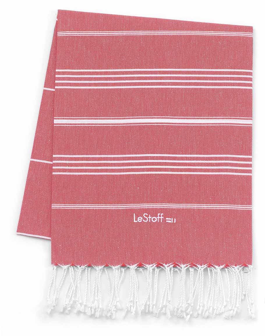 Fouta en coton peigné BIO Rouge 95 x 180 cm