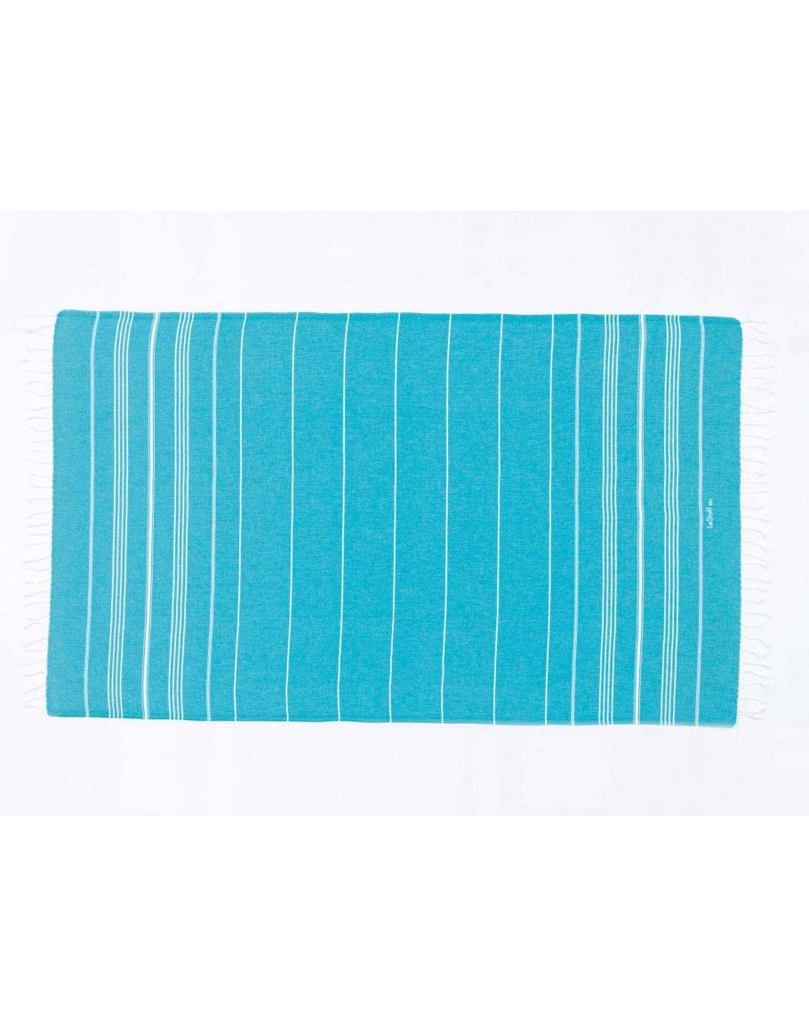 Fouta en coton peigné Aqua 50 x 100 cm
